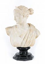 Italian marble bust of Artemis, by P. Bramante