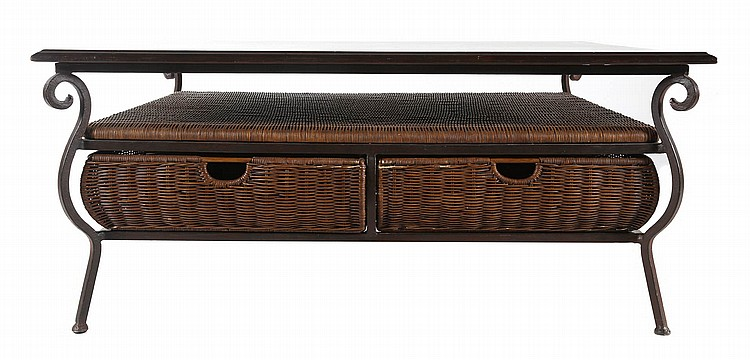 Contemporary Wrought Iron And Wicker Coffee Table