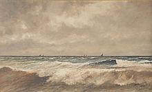 Haaike A. Jaarsma. Sailboats Off Coast, oil