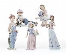 Five Lladro figures