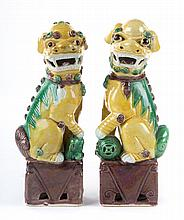 Pair of Chinese Export porcelain foo dogs