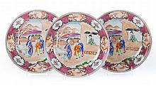 Three Chinese Export Mandarin palace plates