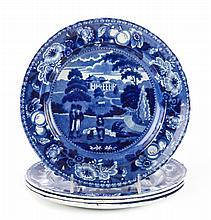 4 Staffordshire blue transfer British Views plates