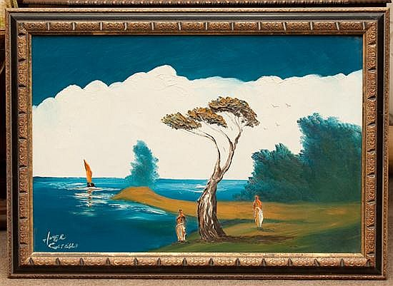 Homer Costello. Figures by the Water, oil on canvas, signed ll, framed