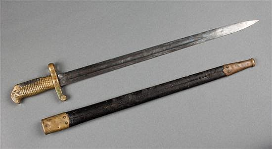 U.S. Naval bronze and steel bayonet with scabbard, dated 1870, Ames
