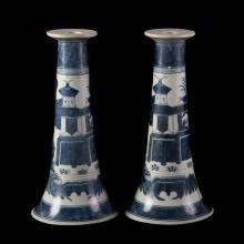 Pair Chinese Export Canton large candlesticks