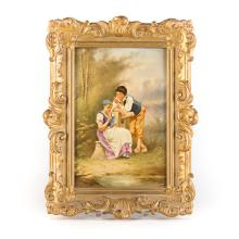 French painted porcelain framed plaque
