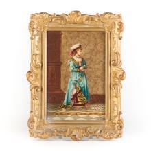 Continental paint transfer framed porcelain plaque