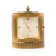 Mathey-Tissot gilt brass cylindrical Luxor clock