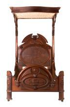 Elizabethan Revival walnut half tester bed