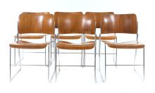 Set of 8 David Rowland 40/4 stacking chairs