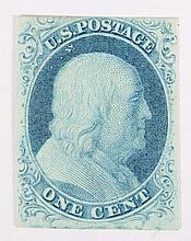 U.S. 1 c. blue, Type II, issue of 1851-'57