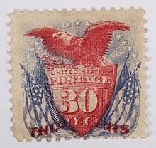 U.S. 30 c. ultramarine and carmine, issue of 1869