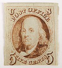 U.S. 5 c. red brown, issue of 1847 (Scott #1)
