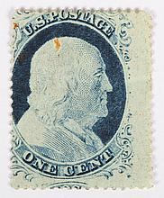 U.S. 1 c. blue, Type IV, issue of 1857-'60