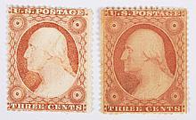 Two U.S. 3 c., issue of 1857-'60 (Scott #25-26)