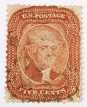 U.S. 5 c. brick red, Type I, issue of 1857-'60