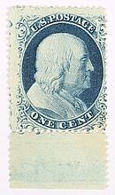 U.S. 1 c. blue, Type Ia, issue of 1857-'60
