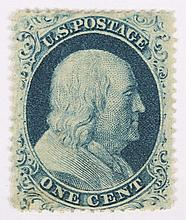 U.S. 1 c. blue, Type IIIa, issue of 1857-'60