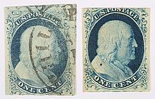 U.S. 1 c. blue, Type II, 1851-'57 (Scott #7)