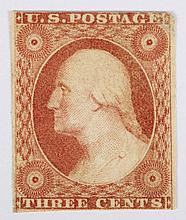 U.S. 3 c. dull red, Type I, issue 1851-'57