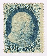 U.S. 1 c. blue, Type I, issue of 1857-'60
