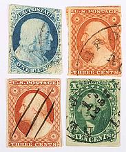 Four U.S. stamps, issue 1851-'57