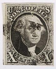 U.S. 10 c. black, issue of 1847 (Scott #2)