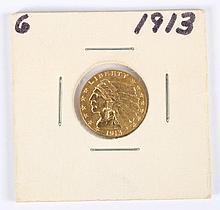 U.S. Indian Head gold quarter eagle ($2.50), 1913