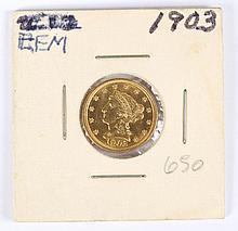 U.S. Coronet type gold quarter eagle ($2.50), 1903