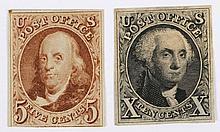 U.S. 5 c. and 10 c., reproductions (Scott #3-4)
