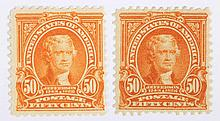 Two 50 c. orange stamps of the issue of 1902-1903