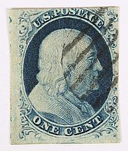 U.S. 1 c. blue, Type IB, issue of 1851-'57