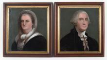 George and Martha Washington, pr. reverse painting