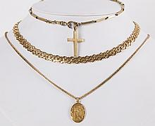 A Gold Watch Chain and Cross