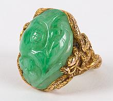 A Gold and Carved Chinese Jade Ring