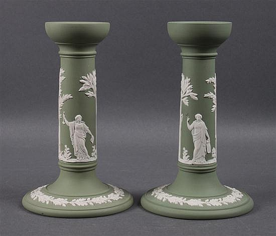 Pair of Wedgwood green and white jasperware candlesticks