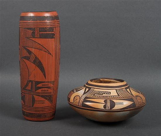 Two Zumi painted terracotta vases, one signed
