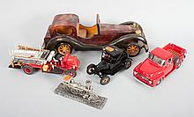 Three collector's cars, pewter loco, and wood car