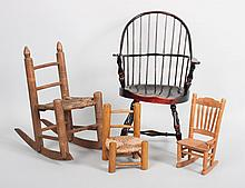Assortment of miniature and doll wooden chairs