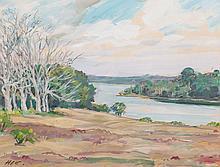 Henry Cobb. River Landscape, gouache
