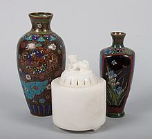 Two Chinese cloisonné vases & hardstone censer