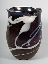 American contemporary studio opalescent glass vase