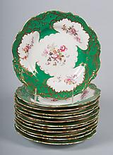 12 Staffordshire floral decorated luncheon plates