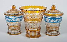 Three Czecho-Bohemian amber glass articles
