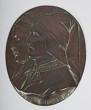 Patinated copper relief plaque of Dante & Beatrice