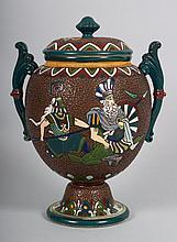 Japanese enamel glazed Satsuma earthenware jar