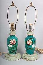 Pair of Japanese cloisonné enamel vase lamps