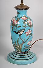 Japanese cloisonné enamel vase lamp