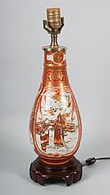 Japanese Kutani porcelain vase lamp
